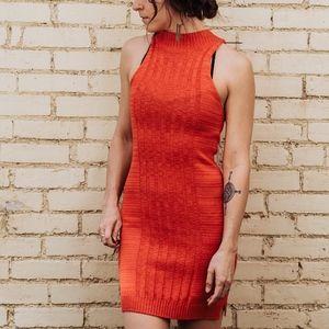 MINKPINK High Neck Orange Sweater Dress
